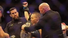 Rose Namajunas gets emotional as Dana White presents