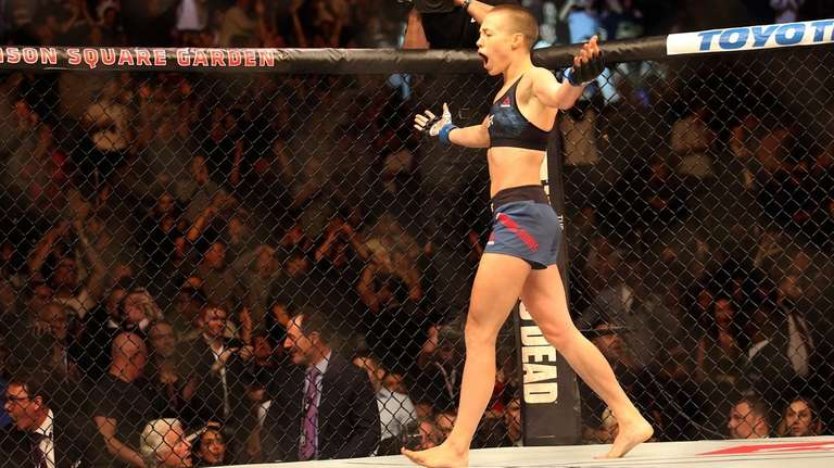 Rose Namajunas celebrates her first-round knockout for the