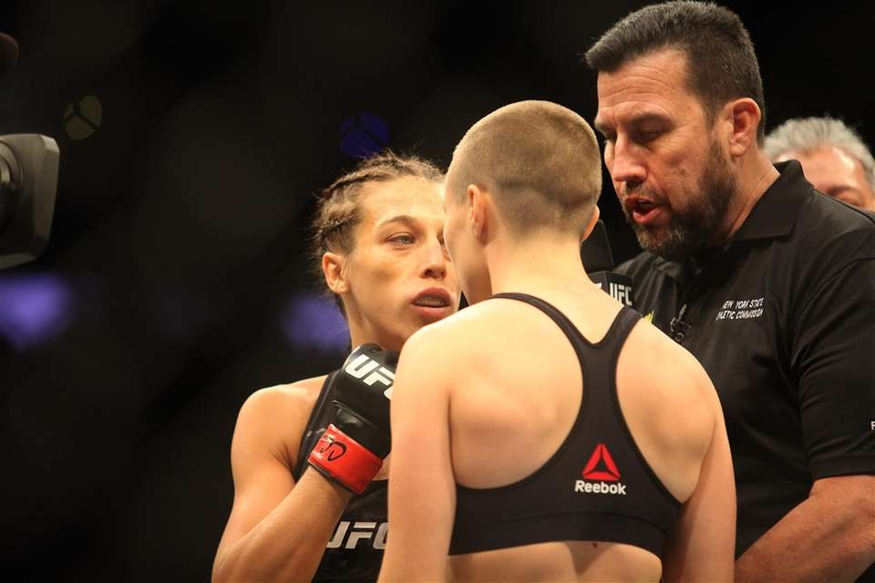 Rose Namajunas, right, and Joanna Jedrzejczyk meet for
