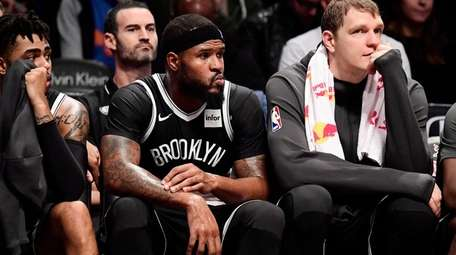Trevor Booker of the Brooklyn Nets reacts late