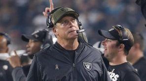 Oakland Raiders head coach Jack Del Rio looks