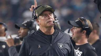 Oakland Raiders head coach Jack Del Rio looks