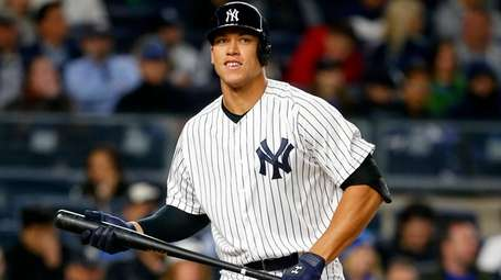 Aaron Judge of the Yankees looks on against