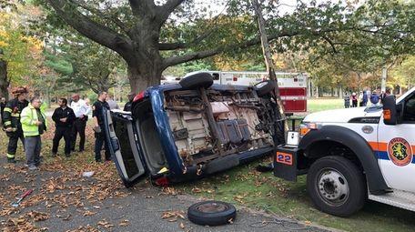 Nassau County police respond to an crash of