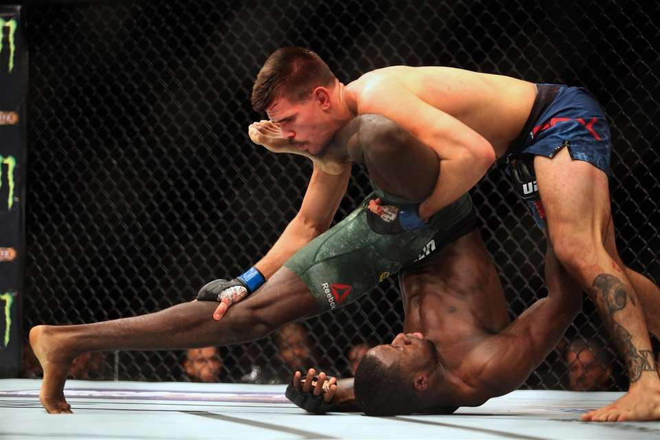 Randy Brown (green shorts) and Mickey Gall fight