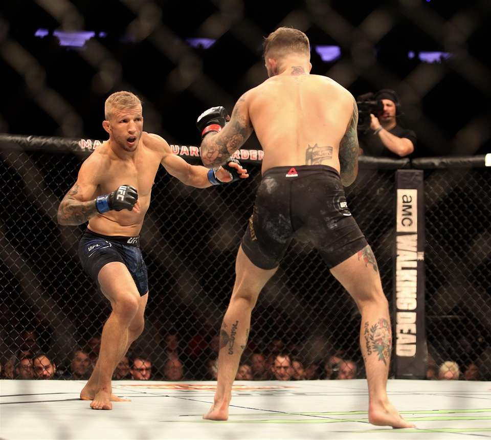 Cody Garbrandt, right, and TJ Dillashaw fight in