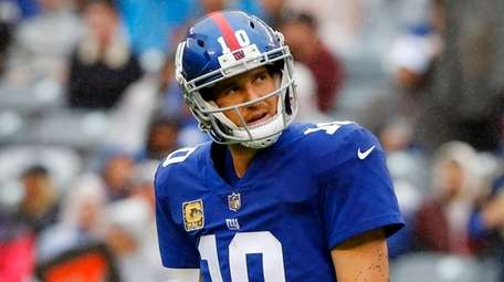 Eli Manning after throwing an interception against the