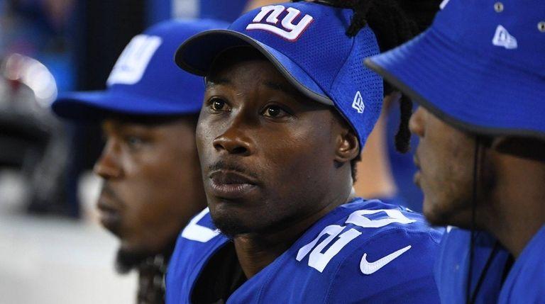 Giants cornerback Janoris Jenkins looks on from the