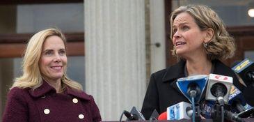 Hempstead Supervisor-elect Laura Gillen, left, and Nassau County