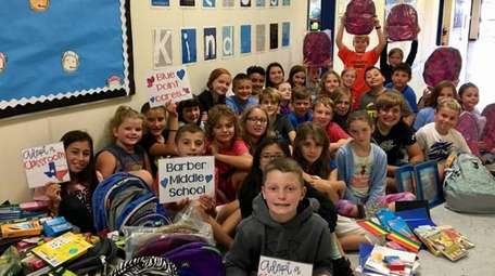 Students at Blue Point Elementary School collected school