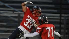 Richie Striano #33 of Cold Spring Harbor, left,
