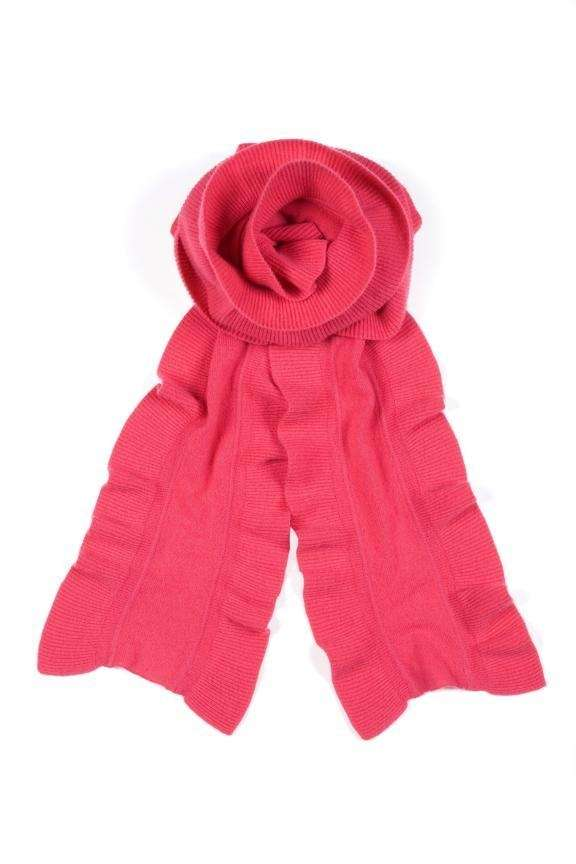 A White + Warren ruffled cashmere scarf, available