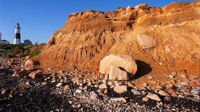 Erosion at Montauk Point bluffs reveals a cross