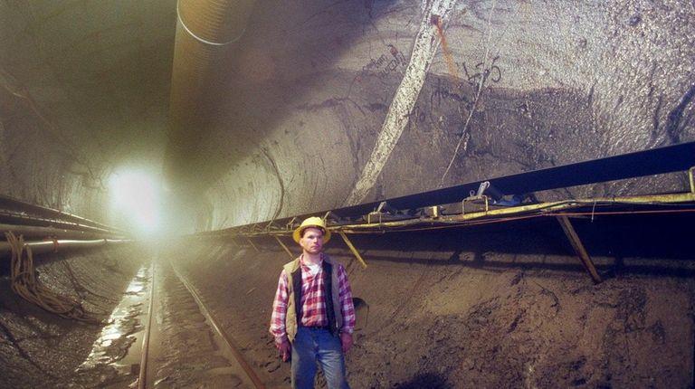 Inside a water tunnel 670 feet below Queens