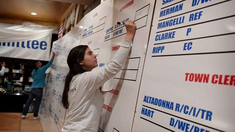 Kaitlyn Toscano posts election results on the board