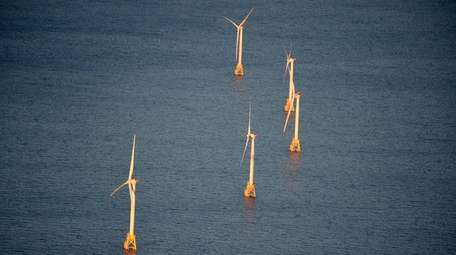 An aerial view of the Deepwater Windfarm, located