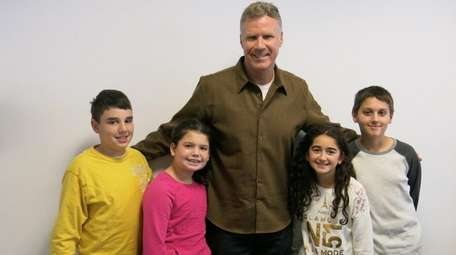 Actor Will Ferrell with Kidsday reporters, from left,
