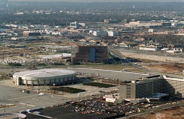 Aerial view of Nassau Coliseum and surrounding area.