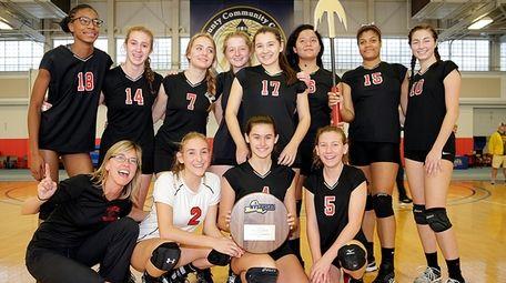 Pierson/Bridgehampton's girls volleyball team after winning the Long