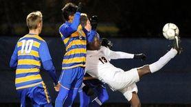 Pierson/Bridgehampton's Habtamu Coulter stretches to get his foot