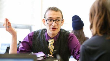 Evan Goldaper, 26, teaches his AP seminar class
