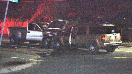 The scene of a wrong-way motor vehicle crash