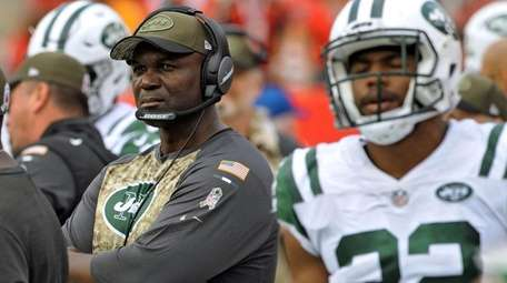 Jets head coach Todd Bowles looks on against