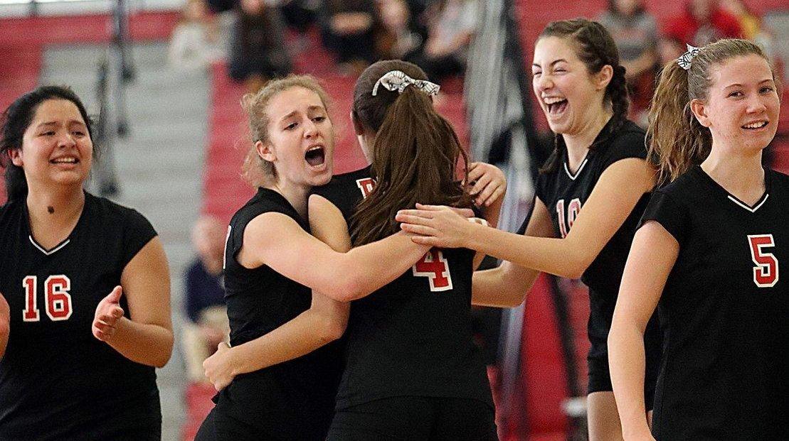 Pierson / Bridgehampton's girls volleyball team after winning