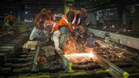 Amtrak crews at work on Aug. 31, 2017,
