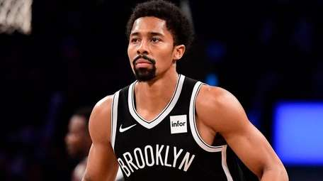 Spencer Dinwiddie of the Nets reacts against the