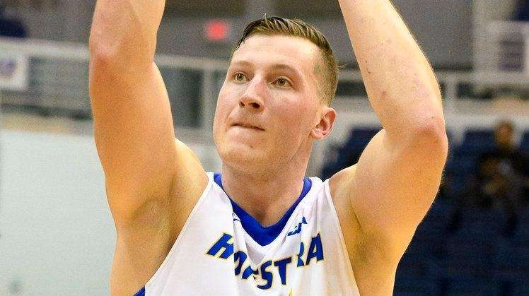 Hofstra forward Rokas Gustys  shoots a foul shot against