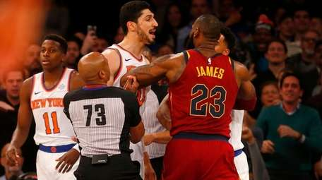 LeBron James of the Cavaliers has words with