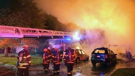 The Massapequa Fire Department responds to a fire