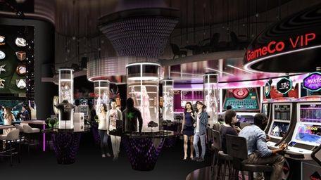 A rendering depicting GameCo's video game gambling machines