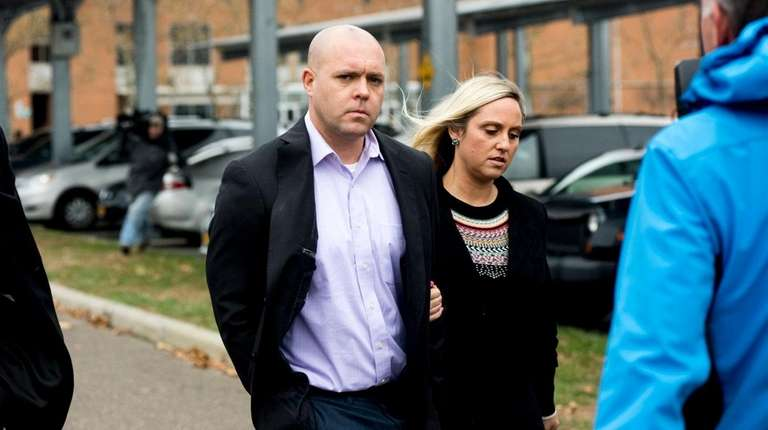 Suffolk Police Officer Gregory Hanrahan, 32, leaves court