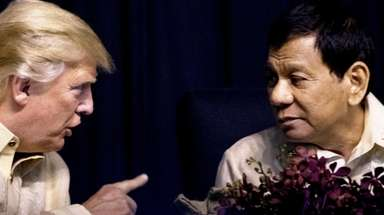 President Donald Trump speaks with Philippines President Rodrigo