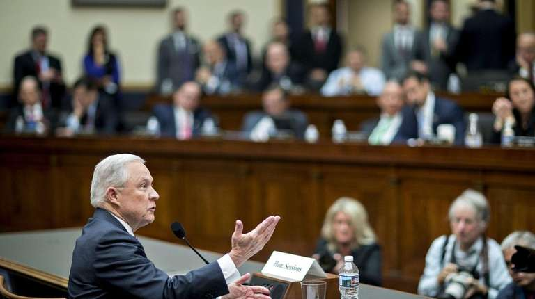 U.S. Attorney General Jeff Sessions speaks Wednesday during