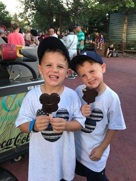 Christopher and Dylan enjoying a cool treat in