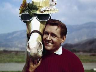Alan Young horses around with the star of