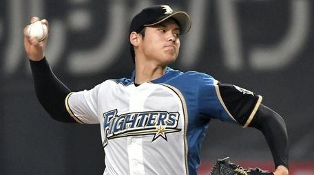 Hokkaido Nippon Ham's Shohei Ohtani pitches against Orix