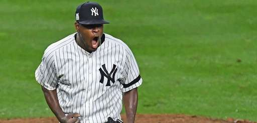 Yankees pitcher Luis Severino celebrates against theIndians at