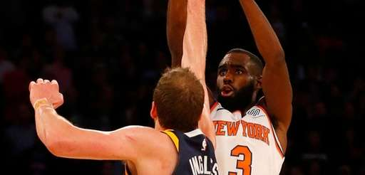 Tim Hardaway Jr.of theKnicks hits a three-point shot