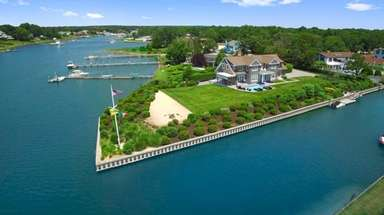 The Hampton Bays home sits on a peninsula.
