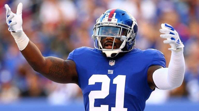 Giants safety Landon Collins reacts during agame against