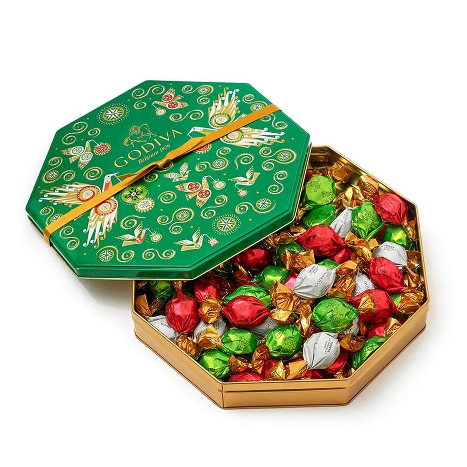 This 50-piece holiday tin of assorted wrapped truffles