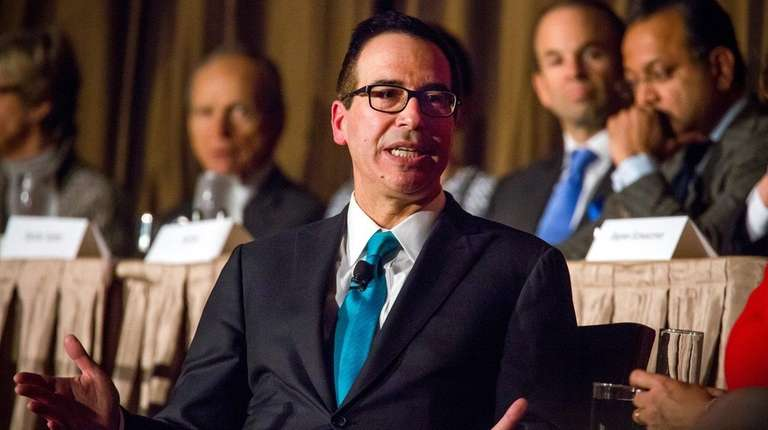 Secretary of Treasury Steven Mnuchin speaks during an