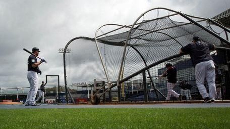 Yankeescatcher Gary Sanchez looks onduring spring training at