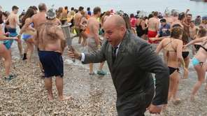 Even the torch-bearer took the plunge at the