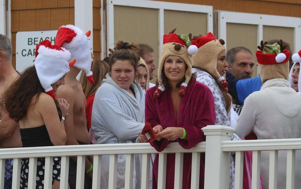 People donned merry headgear at the polar plunge