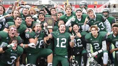 Westhampton celebrates their championship win against Half Hollow